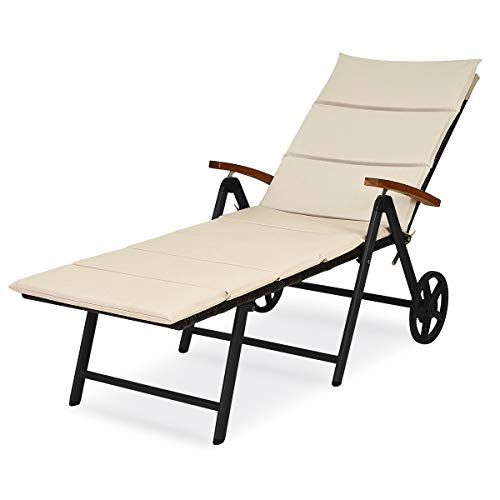 CASART. Outdoor Rattan Bench, Foldable Wicker Deck Chair with Wheels and 7-Positions Adjustable Backrest, Garden Patio Terrace Sun Lounger Chairs