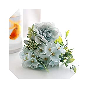 MUZIBLUE Artificial Flowers with Vase for Office  Artificial Peony Hygrange Hybrid Bouquet Silk Camellia Flowers for Wedding Home Party Decoration Fake Flower