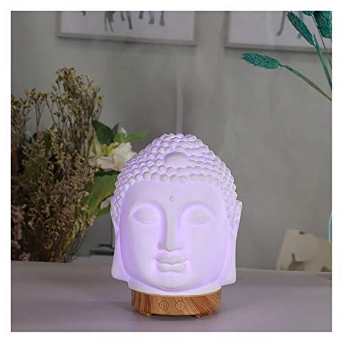 DAMAIA Essential Oil Diffuser Buddha Head Humidifier Night Lamp Aromatherapy Mist Foger Maker Essential Oil Diffuse for Home (Color : Light Wood)
