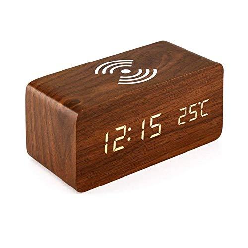Reloj de Alarma Personalizado Reloj Despertador Carga inalámbrica Compatible con una Variedad de la función de Control del Reloj de Sonido Digitales del teléfono móvil Altavoces (Color : Brown)