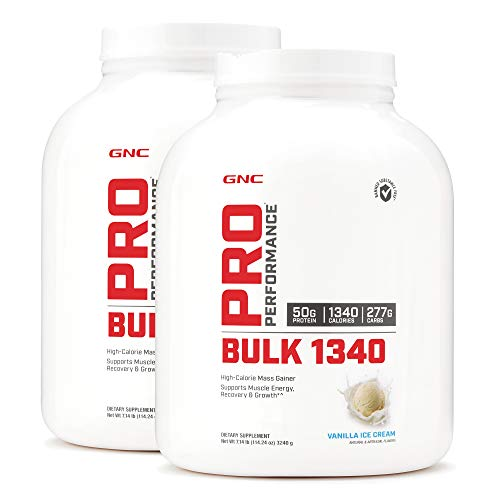 GNC Pro Performance Bulk 1340 - Vanilla Ice Cream, Twin Pack, 9 Servings per Bottle, Supports Muscle Energy, Recovery and Growth