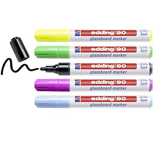Edding90 marcador para pizarras de cristal - multicolor - juego de 5...