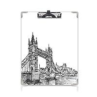 フォルダーボードフォルダーライティングボード ヴィンテージ 事務用品の文房具 (2パック)古いファッションロンドンタワーブリッジスケッチアーキテクチャ英国英国風景アートプリントブラックホワイト