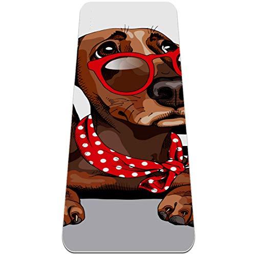 Esterilla Yoga,Bufanda de cuello de lunares con gafas de sol para perros ,Esterilla Deporte Antideslizante Ecológica y 100% Natural de,No tóxico,para Pilates,Fitness