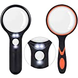 2PCS Magnifying Glass, 3X 45x Lighted Magnifier Glass, 75 Mm 10X Handheld Magnifying Lens-LED Magnifying Glass for Seniors Reading, Exploring, Jewelers, Coins and Stamps.