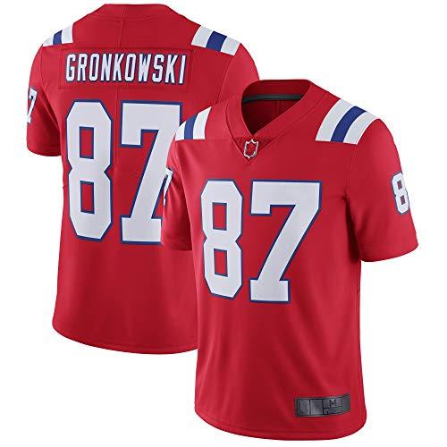 Herren T-Shirt American Football Uniform New England Patriots #87 Gronkowski Football Trikots Gruby Tee Shirts Gr. XL, rot