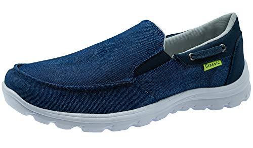ChayChax Scarpe da Barca Uomo Comode Scarpe da Ginnastica Basse Slip On Loafer Mocassini Leggera Canvas Sneaker,Blu,48 EU