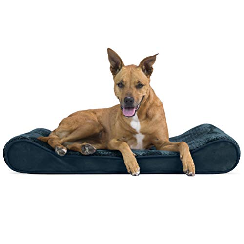 Furhaven Pet Dog Bed - Orthopedic Minky Plush and Velvet Ergonomic Luxe Lounger Cradle Mattress Contour Pet Bed with Removable Cover for Dogs and Cats, Spruce Blue, Large