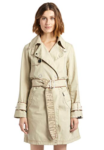 khujo Damen Mantel Palmira Trenchcoat mit Kunstlederpaspeln doppelreihig geknöpft
