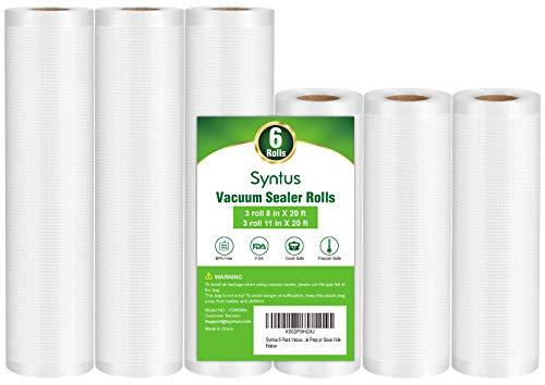 Syntus Vacuum Sealer Bags, 6 Pack 3 Rolls 11' x...