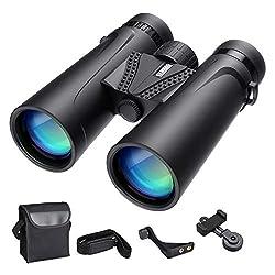 ENKEEO 10 x 42mm Binoculars Waterproof Phone Compatible Fully Multi Coated BAK4 Green Lens for Outdoor Sports Concerts Games Sightseeing Hunting Birding (330ft / 1000 yds) from ENKEEO