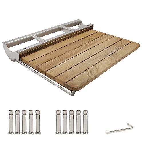 HYDDNice 22'x16' Wall Mounted Teak Folding Shower Seat Bench Bathroom Stool Solid Wood Fold Down &...