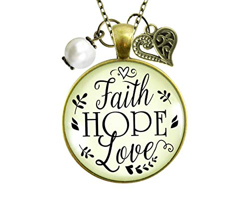 Gutsy Goodness 24' Faith Hope Love Necklace Womens Inspirational Friendship Jewelry