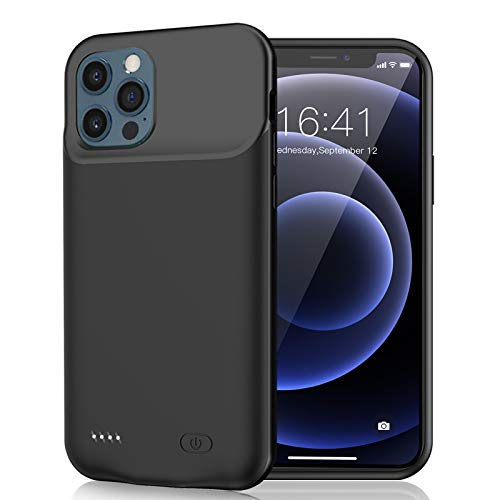 Battery Case iPhone 12 Pro Max, 7000mAh Slim Portable Rechargeable Battery Pack Charging Case Compatible with iPhone 12 Pro Max (6.7 inch) Extended Battery Charger Case (Black)