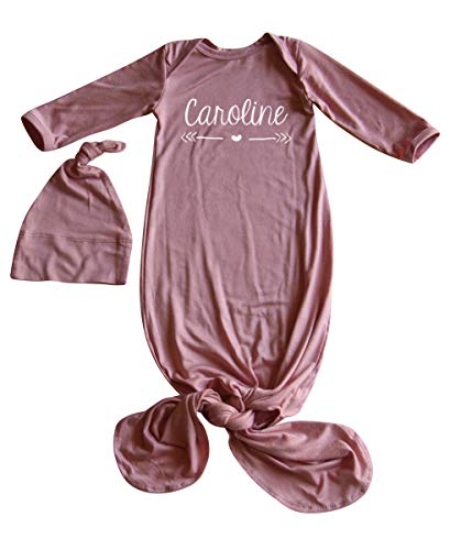 Silky Knotted Baby Gown with Knotted Hat, Unisex, Boys, & Girls, Infant Sleeper-Personalized with Name-Heart and Arrow (Newborn, Silky Dusty Rose)