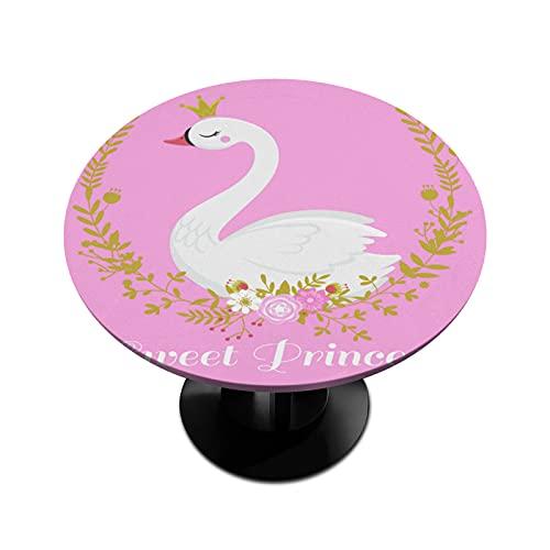 BOLOL - Mantel redondo con borde elástico y diseño de flores de cisne, para mesa redonda de hasta 45 a 56 pulgadas de diámetro