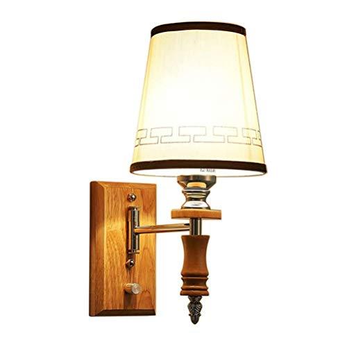CLOVEML Lámparas de Pared de Madera y Metal con Interruptor de cordón de Tiro E27 Foco de Pared Base de Madera, Pantalla de Tela de Lino, lámpara de Pared de lámpara de Cama de diseño Moderno