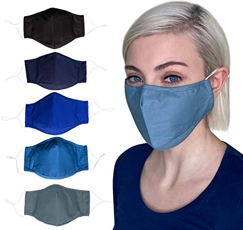 Cloth Face Mask Reusable Washable Breathable,Adjustable Ear Loops, Nose Wire, Filter Pocket, 3-layer Soft Cotton, Solid Color, for teens,women,men (Combo5-5Pack)