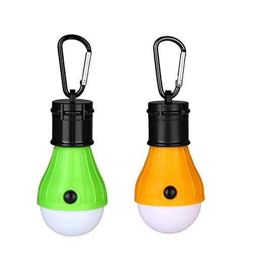 Preisvergleich Produktbild Yizhet LED Campinglampe Zeltlampe Glühbirne Set-Notlicht mit Karabiner Wasserdicht Tragbare Zeltlampe Glühbirne Set für Camping / Abenteuer / Angeln / Garage / Notfall / Stromausfall(2 Stücke, Orange+Grün)