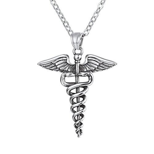 U7 Collar de Enfermera caduceo lactando Símbolo RN enfermería Cadena Acero Inoxidable 20 Pulgadas Ajustable joyería Medical para Enfermos