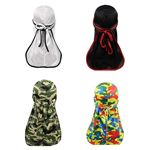 Military Camouflage Premium Silky Durags with Long Tail Colorful 360 Waves Doo rag for Men Du rag Cap (3/4 Packed), Set12-solid&camo-4 Packed, Medium