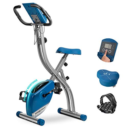 Wonder Maxi Folding Magnetic Exercise Bike, Upright Recumbent Pulse Sensor Indoor Cycling Bike with LCD Monitor Phone Holder for Cardio Workout and Strength Training (blue)