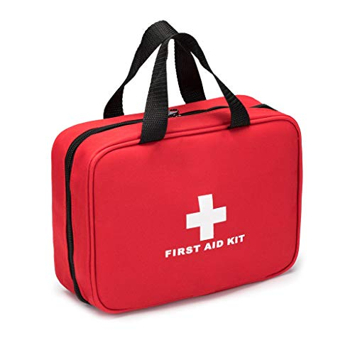 Jipemtra Red First Aid Bag Empty Travel Rescue Bag Empty Pouch First Responder Storage Compact Survival Medicine Bag Pocket Container for Car Home Office Kitchen Sport Ourdoors (Red with Handles)