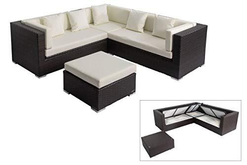 OUTFLEXX Loungemöbel-Set, braun aus Polyrattan-Geflecht, Loungeecke für 6 Personen, wasserfeste Kissenbox, Lounge Möbel