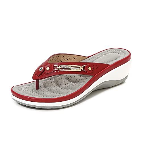 Traciya Chanclas para mujer, sandalias de soporte de arco ortopédico, adecuadas para pies planos y espolones de talón, cómodas sandalias para caminar (blanco/2), color Rojo, talla 39 EU