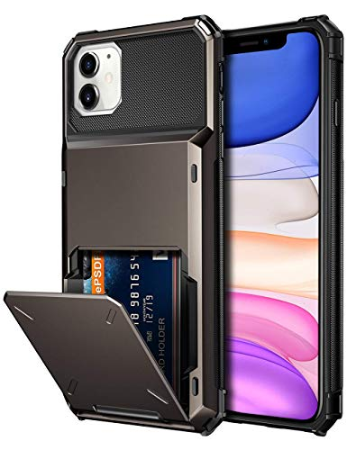 Vofolen Case for iPhone 11 Case Wallet 4-Card Holder ID Slot Flip Door Hidden Pocket Anti-Scratch Dual Layer Hybrid TPU Bumper Armor Protective Hard Shell Back Cover for iPhone 11 6.1 inch Gun Metal