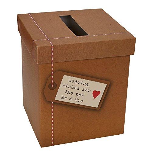 Neviti Just My Type Briefkasten für Hochzeitswünsche, Papier, braun, 14.3 x 14.3 x 17 cm