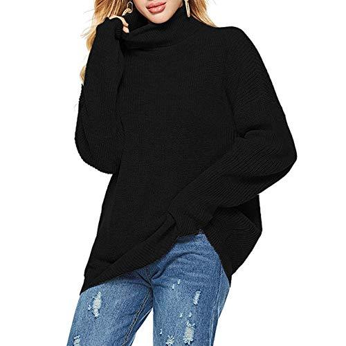 TINERS Womens coltrui streep lange mouwen gebreide trui dikke warme trui voor herfst en winter, Zwart, L