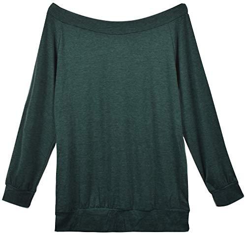 Yuson Girl Casual CamisetasMangaLargaMujer CamisaMujer Fuera del Hombro RopadeMujer Sexy Suelto Mujer Ocasionales Flojas Atractiva Elegante Moda (Verde,S)