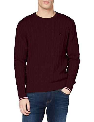 Tommy Hilfiger Męska bluza z organicznej bawełny kablowej z okrągłym dekoltem
