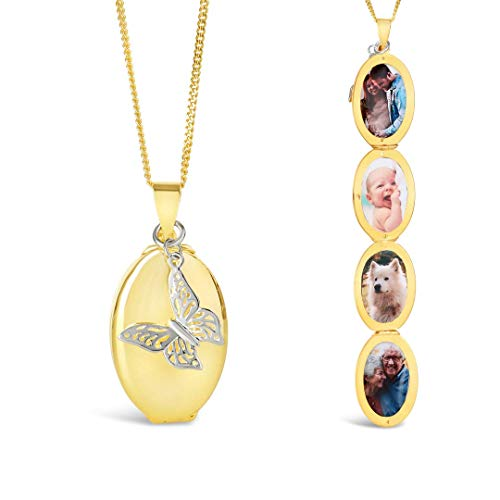 Lily Blanche Women Necklace Gold and Silver Four Photo Oval Charm Locket with Butterfly Charm Designed in Britain (Gold, 18ct Gold Vermeil)