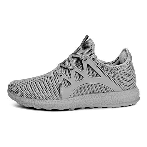 MARSVOVO Womens Breathable Sports Shoe Training Light Running Shoes for Male Comfortable Sneaker Grey Size 11