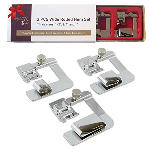 "Lowest Price! Madam Sew Rolled Hem Presser Foot Set – 3 Piece Wide Hemmer Foot Kit Includes 1/2""..."