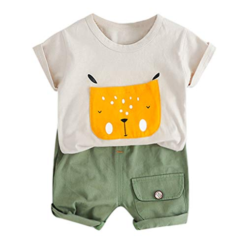 Alwayswin Baby Kinder Jungen Casual Outfits Set Cartoon Hund Tops Kurze Hosen Bequem Chic Babykleidung Sommer Frisch Süß T-Shirt + Shorts Mit Tasche Outdoor Kleidung(6M-24M)