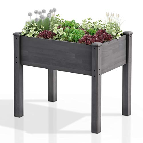 AMZFINE Heavy Duty Wooden Raised Garden Bed Kit, Solid Wood Elevated Planter Box -34' L x 18' W x 30' H, Grey