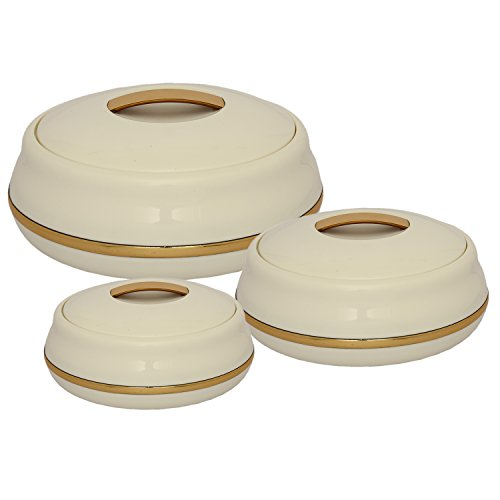 Jaypee Plus Alisa Neo - Juego de cazuelas (plástico, 850 ml, 3 unidades), color dorado