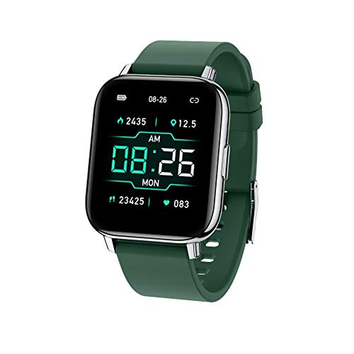 LZXMXR Smart Watch, Pantalla táctil de Alta definición de 1.65 Pulgadas, Pantalla Cuadrada de Carga magnética de Modo Multi-Deporte, Adecuado para Android y iOS. (Color : Green)