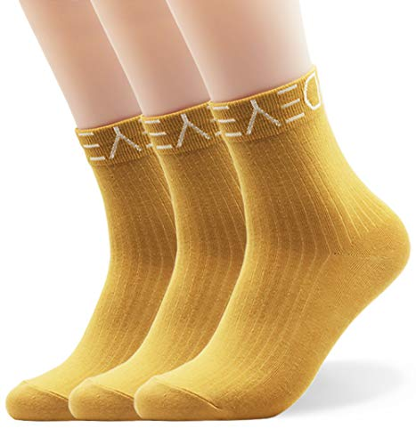 Seoulmade Herren & Damen Socken aus Premium Baumwolle | Bunte Streetwear Socken Gelb 40-44 3x Paar
