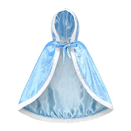 iTvTi Princess Cloak with Hood Girls Cape Kid Toddler Costume Dress up for Halloween Christmas Carnival Cosplay, Blue, 3-4 Years (Label 120)