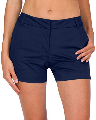Three Sixty Six Womens Golf Shorts - Quick Dry Active Shorts with Pockets, Athletic and Breathable - 4 ½ Inch Inseam Cadet Navy