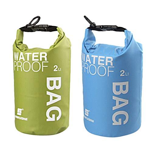 sharprepublic Bolsa de Paquete de Almacenamiento Impermeable Ligera 2pcs Kayak Al Aire Libre Verde Azul 2L