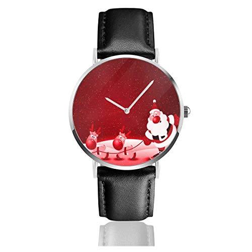Frohe Weihnachten Unisex Uhr Mode Sportuhr PU Lederband Quarz Armbanduhren Schlanke Klassische Uhr