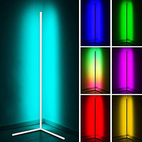 GDFGTH LED Lámpara Pie Salon RGB Regulable con Control Remoto Led Regulable Luz De Esquina Estilo Minimalista Y Moderno para Salón Dormitorio O Sala De Juegos,Blanco