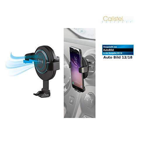 Callstel Veicolo Porta Smartphone: Caricatore per Smartphone da Auto per Griglie di Ventilazione, Compatibile con Qi, 2 A, 10 W. (Senza Fili Caricabatterie Automobile)