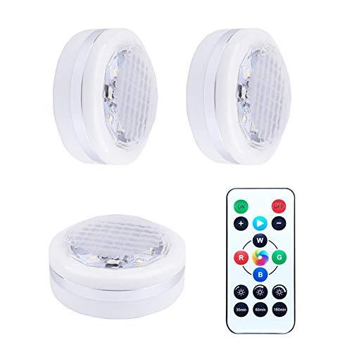 Mazu Homee Luz LED RGB para gabinete de protección de ojos, luz nocturna de color, 6 paquetes/funciona con pilas, con control remoto, brillo ajustable y atenuación de luz decorativa