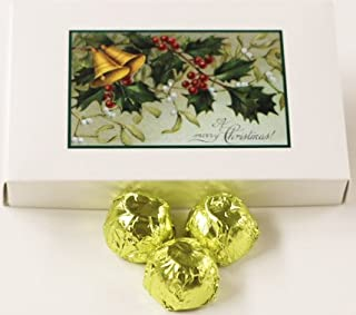 Scott's Cakes White Chocolate Passion Fruit Marzipan Candies with Chartreuse Foils in a 1 Pound Mistletoe Box